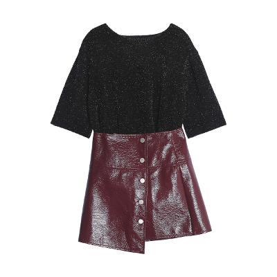 nique knit black&red & enamel button skirt